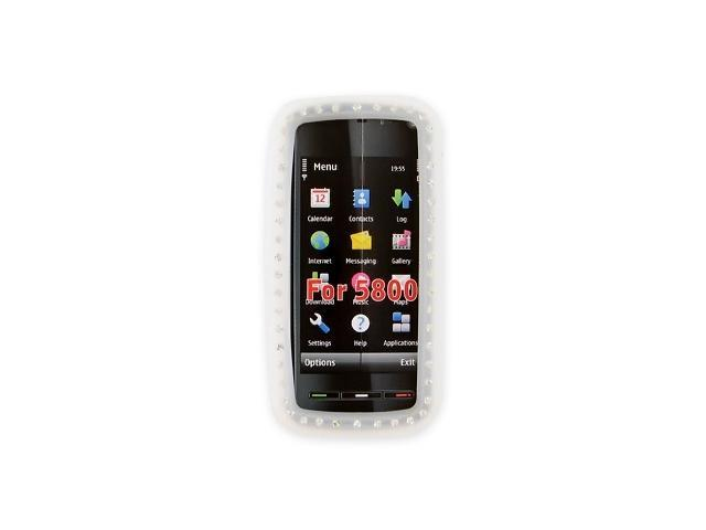 Nokia XpressMusic 5800 Silicone Case  Rubber Skin w/ Embedded Gems - Frost White