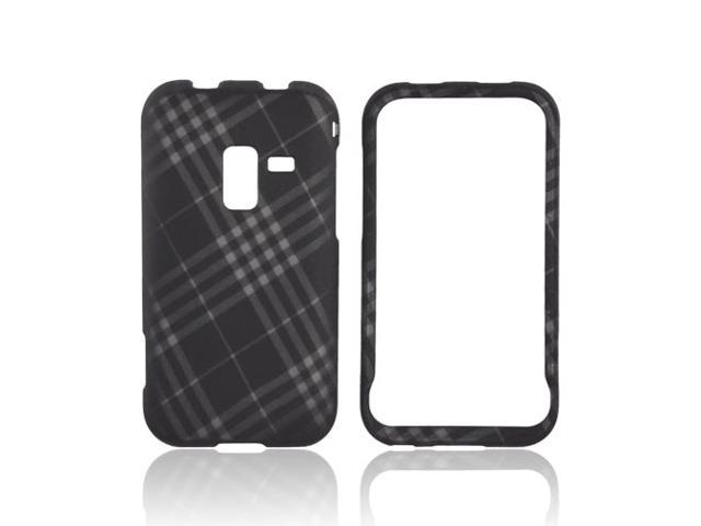 Gray Plaid Black Hard Rubberized Plastic Case Cover For Samsung Conquer 4G