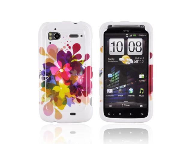 Slim & Protective Hard Case for HTC Sensation 4G - Colorful Flowers on White - OEM