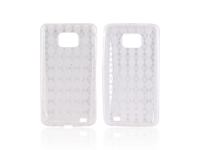 Clear Argyle Checkered Hard Crystal Silicone Case Cover For Samsung Galaxy S2
