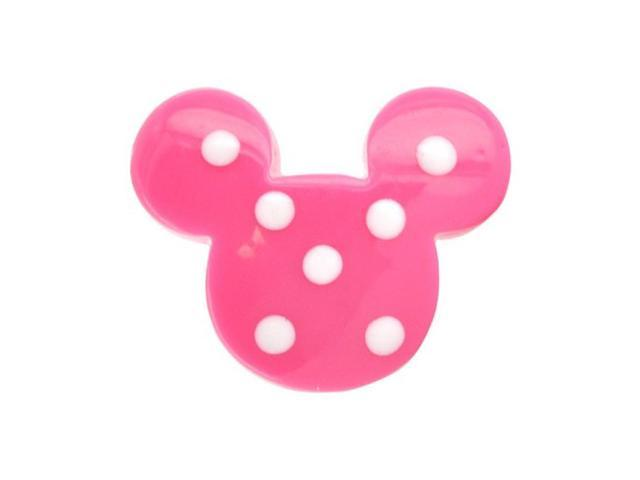 Universal 3.5mm Headphone Jack Stopple Charm - Hot Pink W/ White Polka Dot Mouse