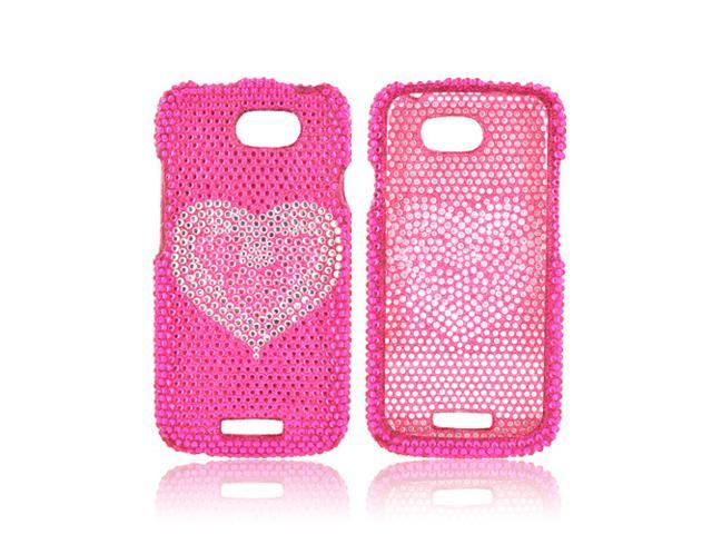 HTC One S Bling Hard Plastic Case Snap On Cover - Pink/ Silver Mini Hearts On Hot Pink Bling