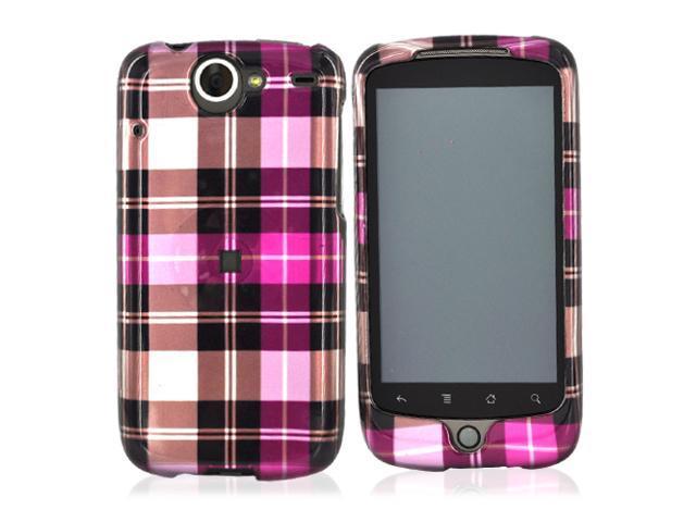 HTC Nexus One Hard Plastic Case - Plaid Pattern Of Hot Pink, Brown, Pink
