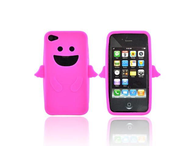 Apple Iphone 4 Rubbery Feel Silicone Skin Case Cover - Hot Pink Angel W/ Wings