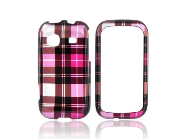 Slim & Protective Hard Case for Samsung Trender M380 - Hot Pink / Brown Plaid