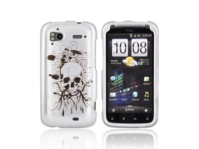 Slim & Protective Hard Case for HTC Sensation 4G - Black Skull on Silver - OEM