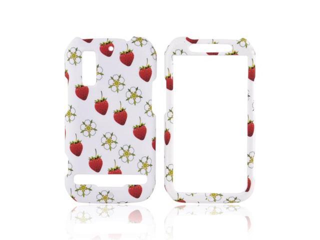 Strawberry Flower White Hard Plastic Case Cover For Motorola Photon 4G Electrify