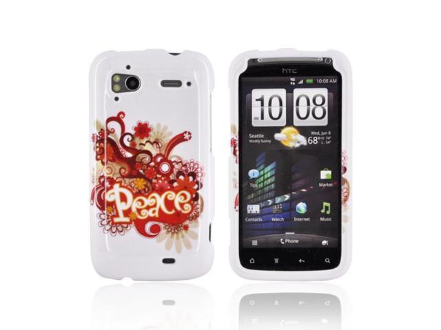 Slim & Protective Hard Case for HTC Sensation 4G - Red / Yellow Peace on White