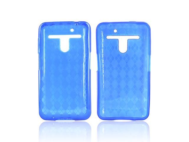 LG Revolution Vs910 Crystal Rubbery Feel Silicone Skin Case Cover - Argyle Blue