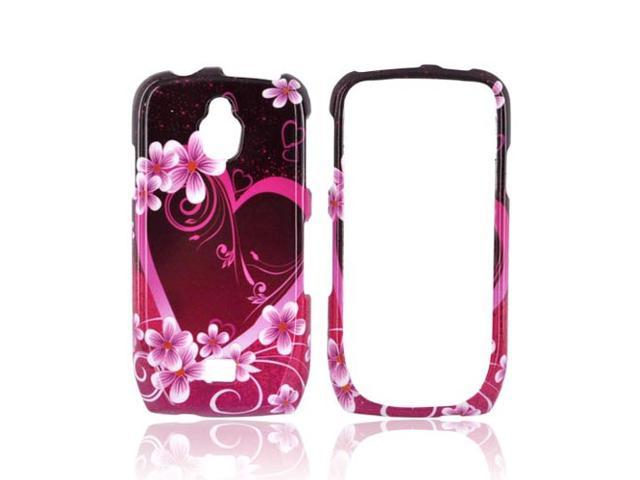Slim & Protective Hard Case for Samsung Exhibit T759 - Pink / Purple Flowers & Hearts
