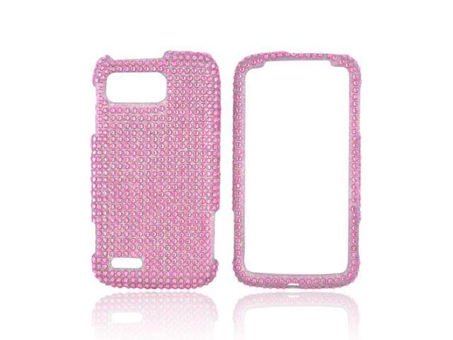 Baby Pink Hard Plastic Bling Case Snap On Cover For Motorola Atrix 2