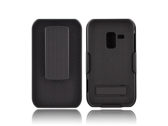 Samsung Conquer 4g Rubberized Hard Plastic Snap On Cover W/ Holster & Kickstand - Black