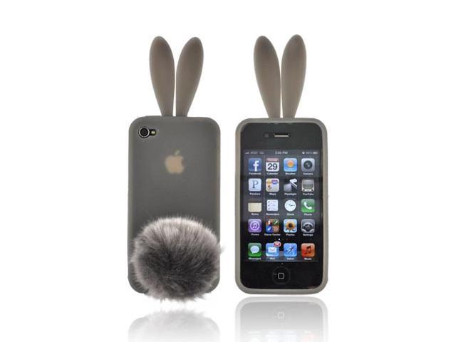 Smoke Bunny Rubber Feel Silicone Skin Case Cover Tail For Verizon ATT iPhone 4