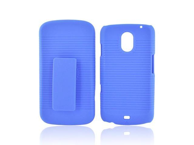 Blue Hard Rubberized Case Cover W Holster Stand For Samsung Galaxy Nexus