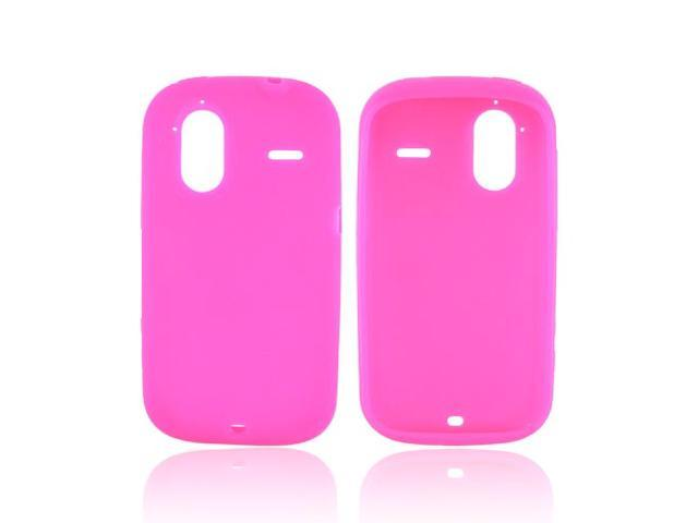 Hot Pink Rubbery Feel Silicone Skin Case Cover For HTC Amaze 4G
