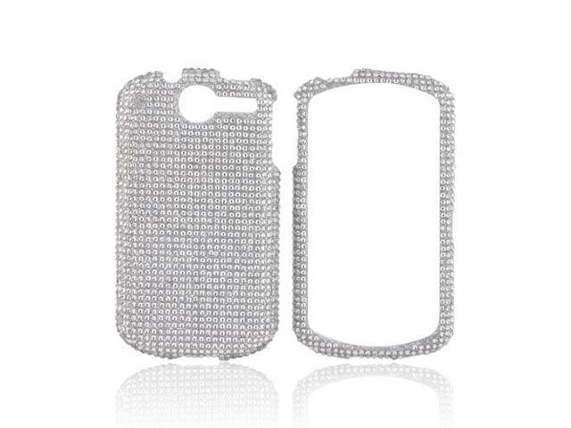 Silver Gems Bling Hard Plastic Case Snap On Cover w Crowbar For AT&T Impulse 4G
