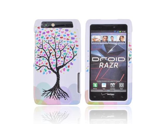Slim & Protective Hard Case for Motorola Droid RAZR - Black Tree & Colorful Hearts