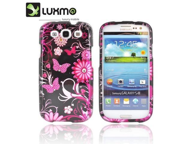 Samsung Galaxy S3 Hard Plastic Case Snap On Cover W/ Bling - Hot Pink Flowers & Butterflies On Black