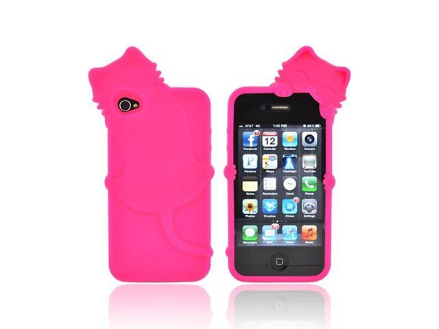 Pink 3d Cat Rubbery Feel Silicone Skin Case Cover For Apple Iphone 4s 4