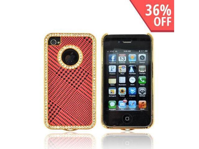AT&t/ Vzw Apple Iphone 4, Iphone 4s Hard Plastic Case Snap On Cover W/ Bling - Black Houndstooth On Red