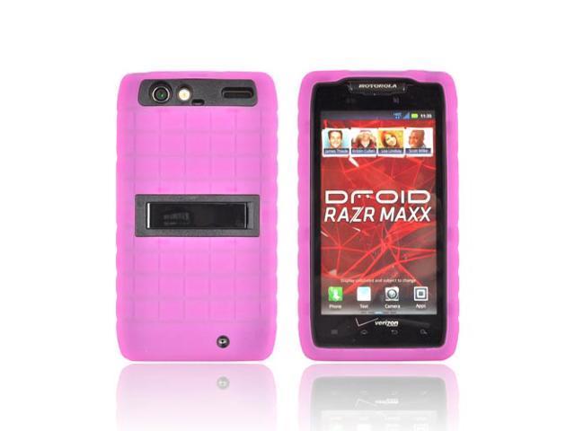Hot Pink Black Dual Layer Hard Silicone Case W Stand For Motorola Droid RAZR MAXX