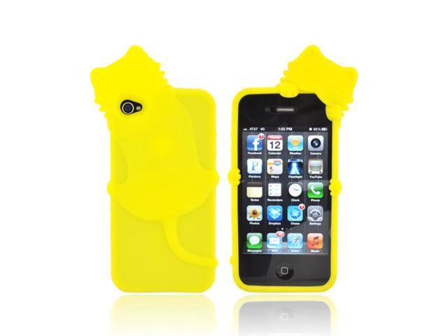 Yellow 3d Cat Rubbery Feel Silicone Skin Case Cover For Apple Iphone 4s 4