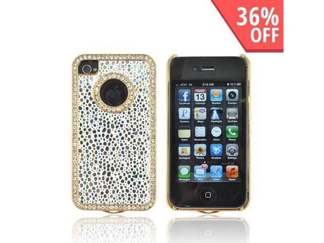 Silver Droplets White Hard Plastic Snap On Case W Bling For Apple Iphone 4s 4