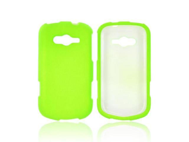 Samsung Galaxy Reverb Rubberized Hard Plastic Case Snap On Cover - Neon Green