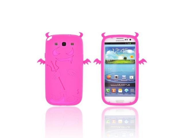 Samsung Galaxy S3 Rubbery Feel Silicone Skin Case Cover - Hot Pink Devil W/ Horns