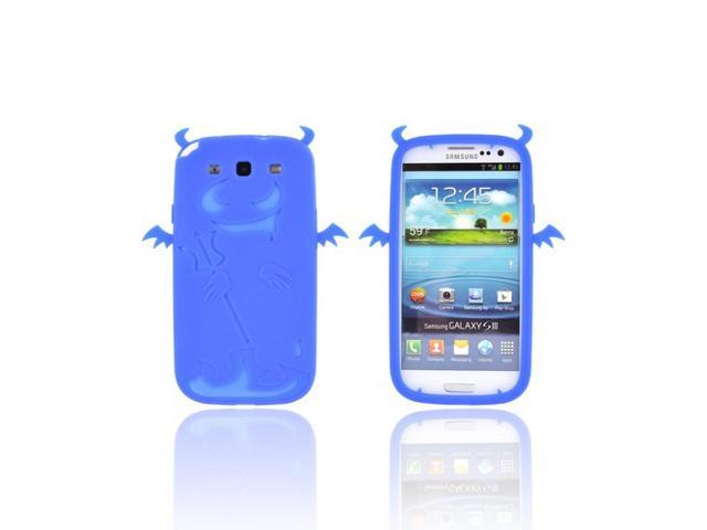 Samsung Galaxy S3 Rubbery Feel Silicone Skin Case Cover - Blue Devil W/ Horns