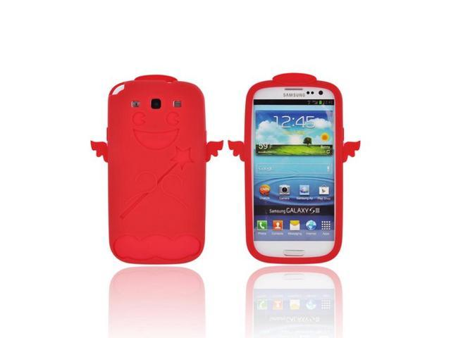 Samsung Galaxy S3 Rubbery Feel Silicone Skin Case Cover - Red Angel W/ Wings