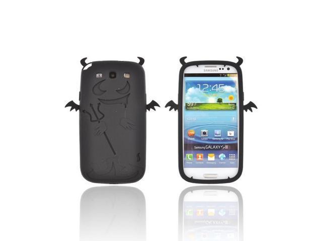 Samsung Galaxy S3 Rubbery Feel Silicone Skin Case Cover - Black Devil W/ Horns