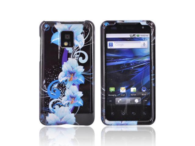 Slim & Protective Hard Case for LG G2X (T-Mobile) - Blue Flowers on Black