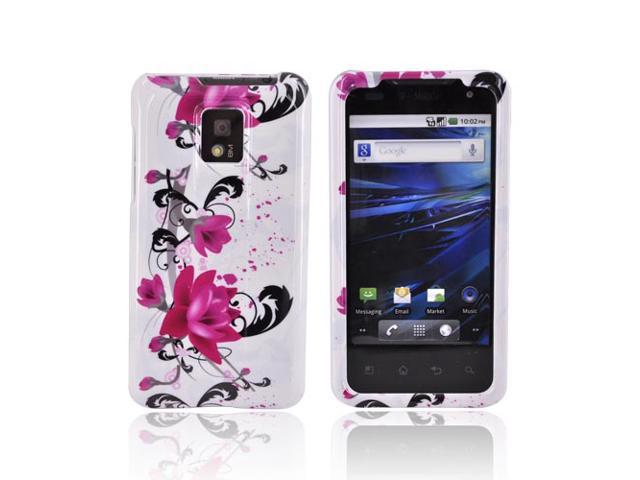 LG G2X Case, [Pink Flowers] Slim & Protective Crystal Glossy Snap-on Hard Polycarbonate Plastic Case Cover