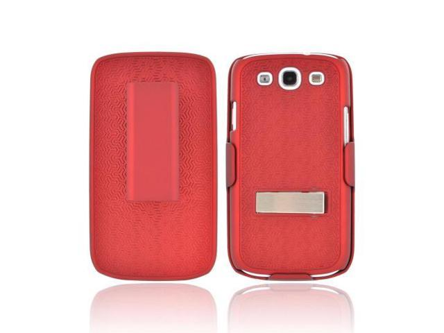 Samsung Galaxy S3 Rubberized Hard Plastic Case Snap On Cover W/ Metal Kickstand & Holster Combo - Textured Red