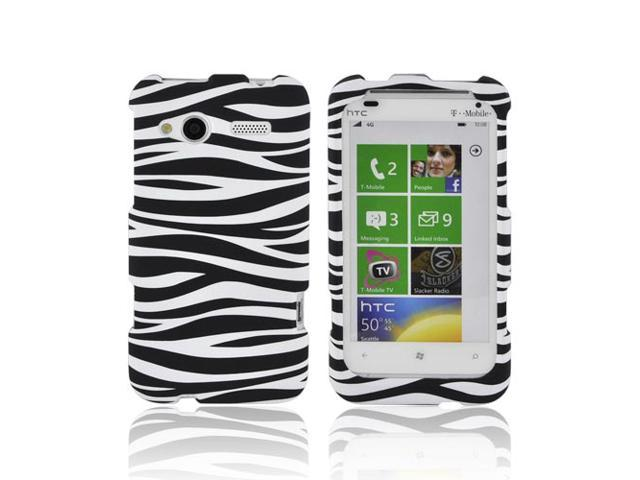 HTC Radar 4g Rubberized Hard Plastic Case Snap On Cover - Black/ White Zebra