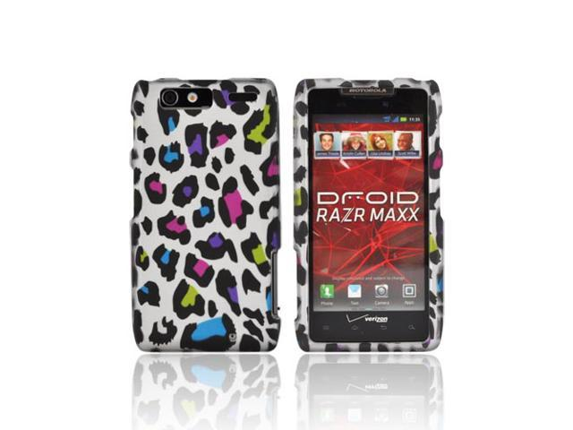 Motorola Droid RAZR MAXX Rubberized Hard Plastic Case Snap On Cover - Colorful Leopard On Silver