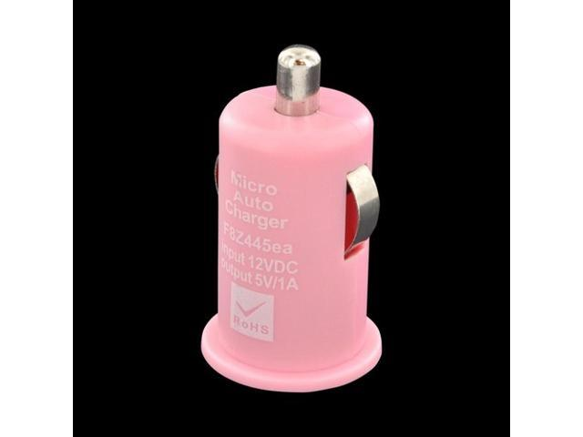 Universal USB Miniature Car Charger Adapter (1000 Mah) - Baby Pink