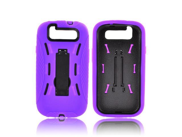 Samsung Galaxy S3 Silicone Over Hard Plastic Case Snap On Cover W/ Kickstand - Purple/ Black