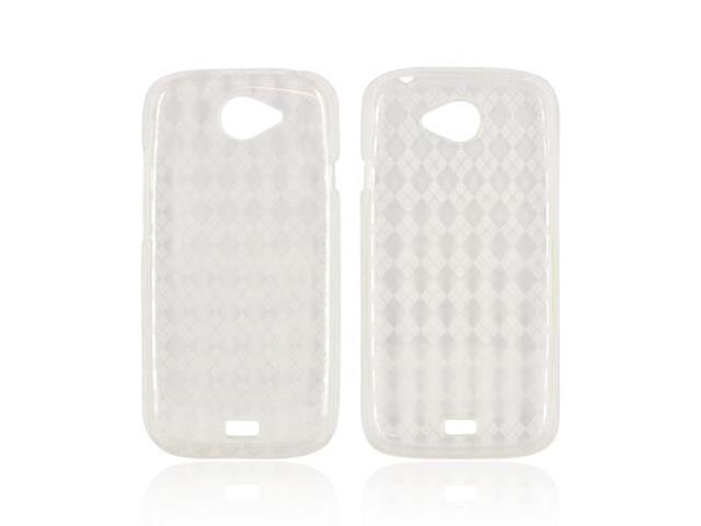 HTC One S Crystal Rubbery Feel Silicone Skin Case Cover - Argyle Clear