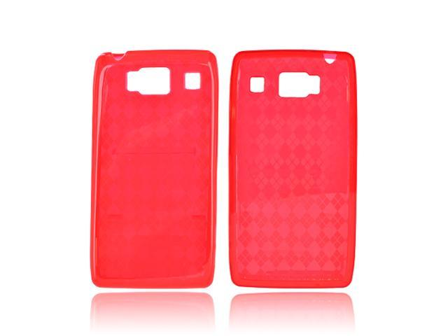Motorola Droid RAZR HD Crystal Rubbery Feel Silicone Skin Case Cover - Argyle Red