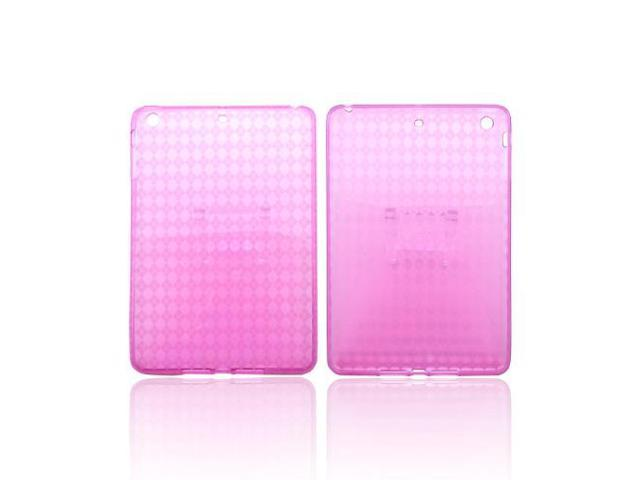 Apple Ipad Mini Crystal Rubbery Feel Silicone Skin Case Cover - Argyle Hot Pink