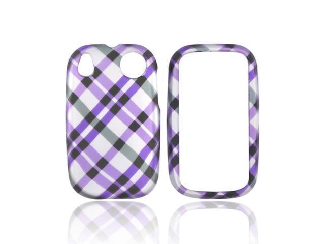 Palm Pre 2 Rubberized Plastic Case - Checkered Design Of Purple, Grey On Silver