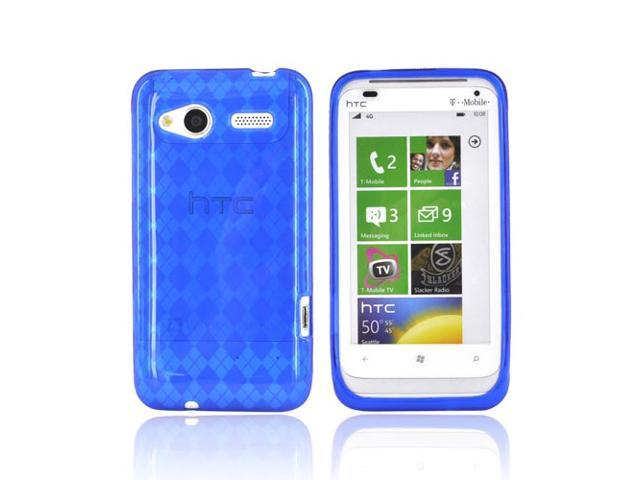 Argyle Blue TPU Crystal Rubbery Silicone Case Cover For HTC Radar 4g