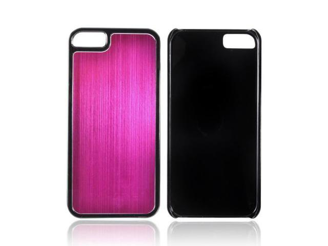 Apple Iphone 5 Hard Back Cover W/ Aluminum Back - Hot Pink/ Black
