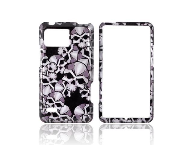Slim & Protective Hard Case for Motorola Droid Bionic XT875 - Silver Skulls on Black