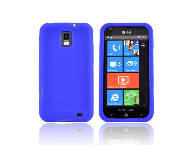Blue Rubbery Feel Silicone Skin Case Cover For Samsung Focus S i937
