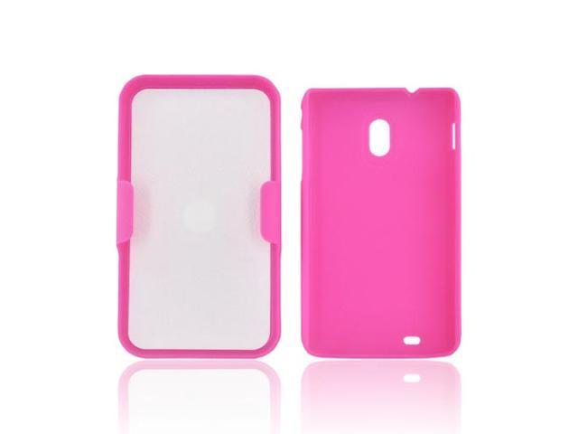 Hot Pink Hard Rubberized Case Cover W Holster Stand For Samsung Epic 4g Touch