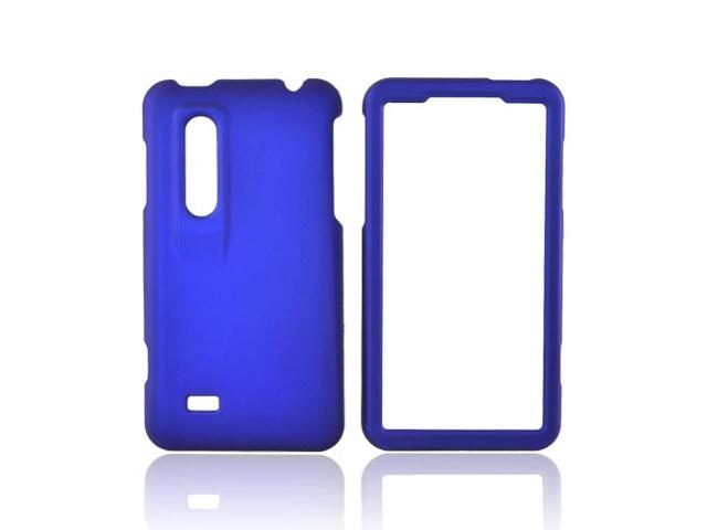 Blue Rubberized Hard Plastic Snap On Case Cover For LG Thrill 4G