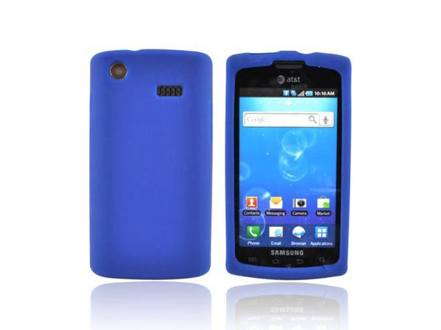 Blue Rubber Feel Silicone Skin Case Cover For Samsung Captivate i897